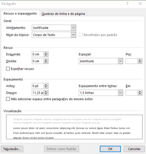Na janela de Parágrafo estão inseridas as configurações essenciais para formatá-lo.