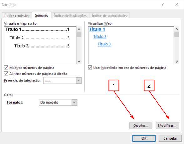 Na janela de Personalização do Sumário, há menus para selecionar Opções e Modificações para aquele sumário.
