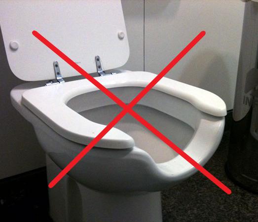 Bacia sanitária inadequada.