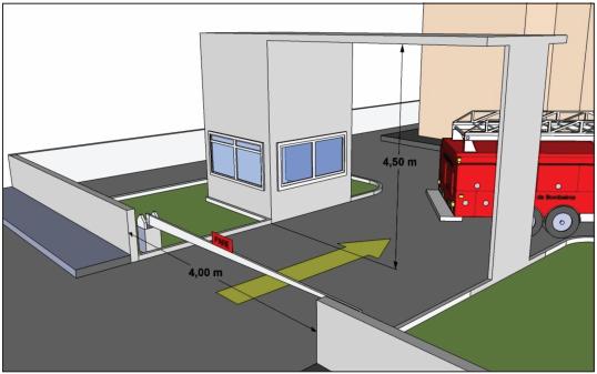 Acesso da edificação para entrada do corpo de bombeiros.