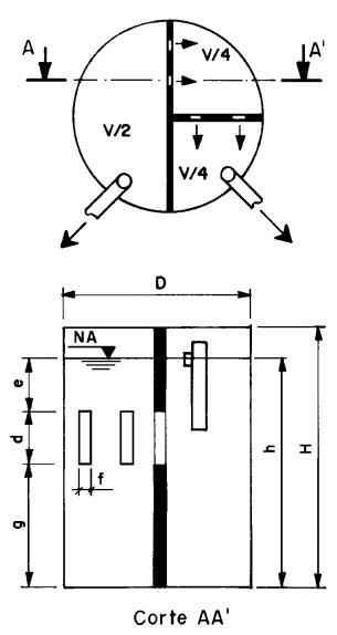 Detalhes e dimensões de um tanque séptico circular de câmara única.