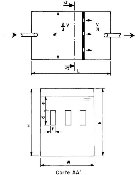 Detalhes e dimensões de um tanque séptico circular de câmara múltipla.